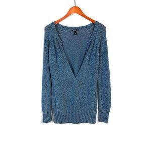 Banana Republic Women's Blue Marled V-Neck Sweater